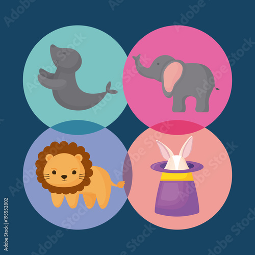 icon set of Circus animals concept over colorful circles and blue background, vector illustration