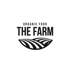 The farm logo template. Meadow silhouette, land symbol with horizon in perspective. Farm food badge