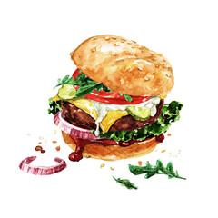 Foto op Plexiglas Waterverf Illustraties Traditional hamburger. Watercolor Illustration.