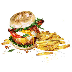 Breakfast burger with fries. Watercolor Illustration.