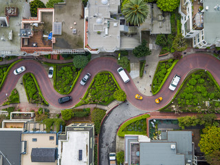 Aerial view of cars moving on Lombard Street