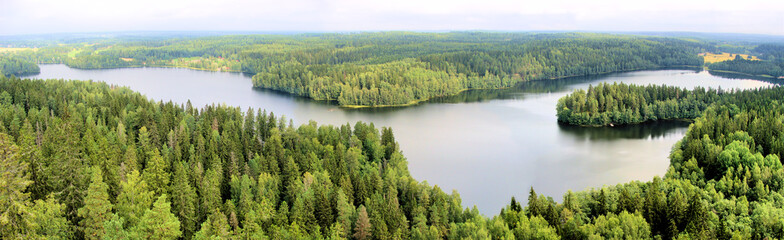 Foto auf AluDibond Skandinavien Panoramic aerial view of a lake among the forests of Finland