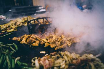 Feuerplatte grilled smoked BBQ Burger & Steak