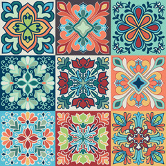 Photo sur Plexiglas Tuiles Marocaines Seamless vector tile pattern. Colorful lisbon, mediterranean floral ornament pattern. Square flower blue mosaic. Islam, Arabic, Turkish, Pakistan Moroccan Portuguese motifs vector