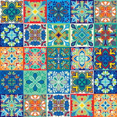 Seamless vector tile pattern. Colorful lisbon, mediterranean floral ornament pattern. Square flower blue mosaic. Islam, Arabic, Turkish, Pakistan Moroccan Portuguese motifs vector