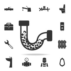 clogging tube icon. Detailed set of plumber element icons. Premium quality graphic design. One of the collection icons for websites, web design, mobile app