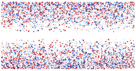 USA, UK, Australia State Symbols and Flag Coloured Star Confetti. 4th of July, Independence, Labor Day, Memorial Day Patriotic Pattern. American Flag, Impeach Red, Blue, White Stars Confetti Pattern