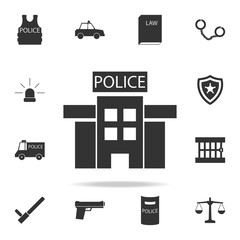 police station in black and white icon. Detailed set of police element icons. Premium quality graphic design. One of the collection icons for websites, web design, mobile app