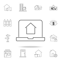 Online house shopping icon. Set of sale real estate element icons. Premium quality graphic design. Signs, outline symbols collection icon for websites, web design, mobile app