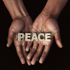 African hand with text Peace