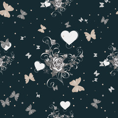 Seamless floral pattern with flowers, Butterfly and heart