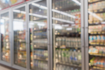Abstract blur supermarket convenience store refrigerator aisle and product shelves interior defocused background