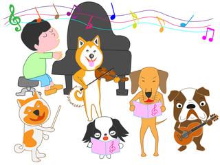 犬のコンサート。犬と子供が歌ったり、楽器を演奏している。
