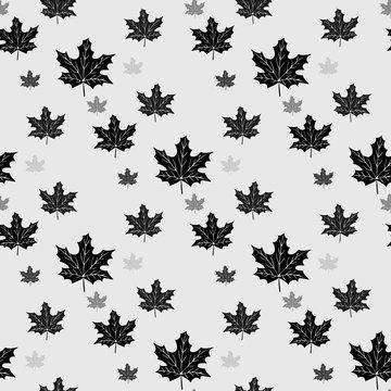 Black maple leaves seamless patern. Vector illustration.