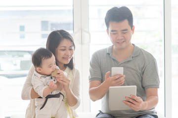 Chinese family scanning QR code