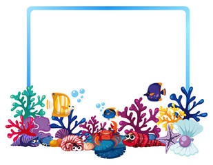 Border template with fish and coral reef