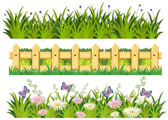 Grass and flowers in three patterns