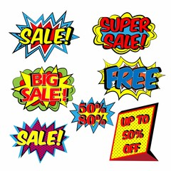Colorful Pop art comic sale discount promotion banner, Big sale template with speech bubble, clouds beams and halftone background. Vector illustration