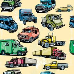 Truck seamless pattern. Transportation background
