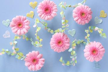 ピンクのガーベラ ハート