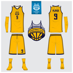 Basketball jersey or sport uniform, shorts, socks template for basketball club. Front and back view sport t-shirt design. Tank top t-shirt mock up with logo design. Vector Illustration.