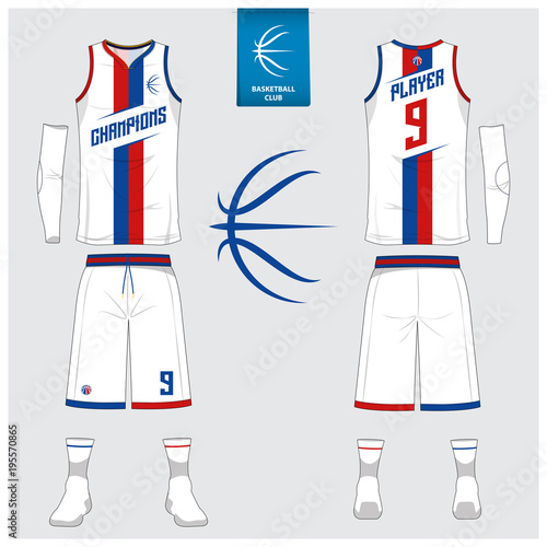 0dccb33bf4d Basketball jersey or sport uniform, shorts, socks template for basketball  club. Front and back view sport t-shirt design. Tank top t-shirt mock up  with logo ...