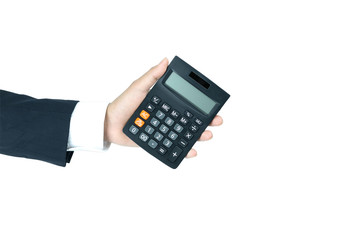 Hand of the businessman calculator isolated on white backgroundwith clipping path.