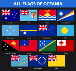Set of all flags of the countries of Oceania. Flat style