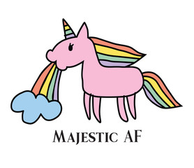 Vector illustration of majestic unicorn puking rainbow. Majestic as fuck and very rare unicorn.