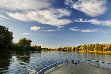 Beautiful autumn landscape Delta of the Volga. Astrakhan Region. Wild nature of Russia.