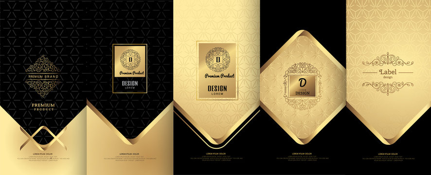 Collection of design elements,labels,icon,frames,for packaging,design of luxury products. Made with golden foil.For perfume,lotion,wine,Isolated on gold and geometric background.vector illustration