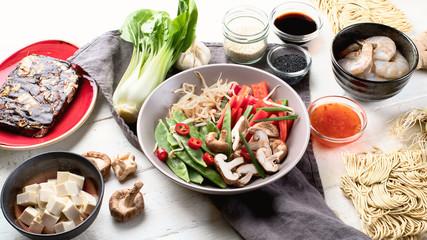 Ingredients ready  asian food preparing