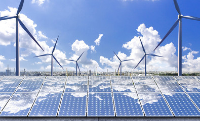 New energy, cities use solar energy and wind power