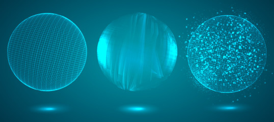 a volume luminous sphere on a dark background. abstract vector object.