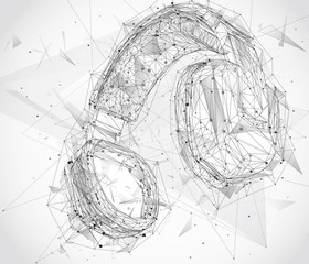 three-dimensional headphones in a triangular style explode on particles of lines and dots on an abstract background.