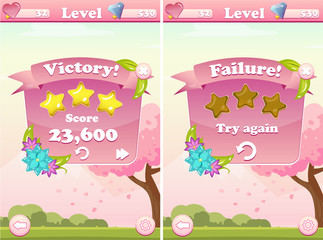 Victory and Failure Game User Interface with Flowers