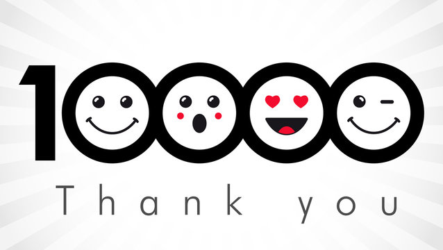 Thank you 10000 followers numbers. Congratulating black and white thanks, image for net friends in two 2 colors, customers 10 000 likes, % percent off discount. Round isolated smiling people faces.