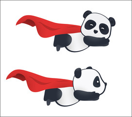 Little panda super hero flies in the air with a red cloak.