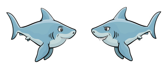 two vector funny funny shark isolated
