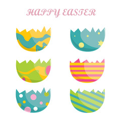Happy easter,set of easter eggs with different texture on a white background.Spring holiday. Vector Illustration.Happy easter eggs