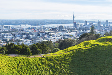 Mt Eden Crater and View to Auckland New Zealand; Lovely Morning Time; Auckland is the largest city in New Zealand