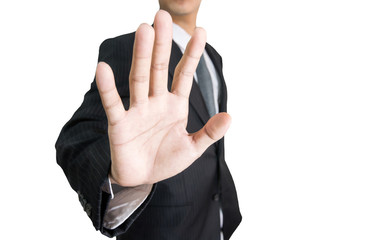 Businessman with raised opening hand making No more gesture, background white