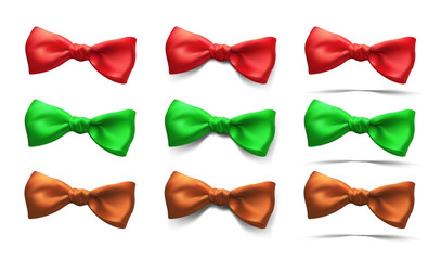 set of  bows of different colors isolated