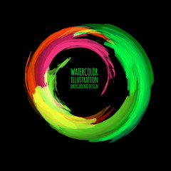 Neon paint abstract round. Glowing retro frame.