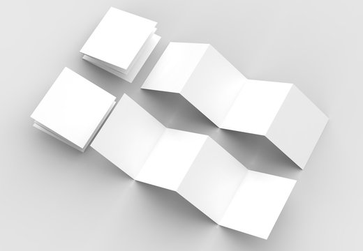 8 page leaflet, 4 panel accordion fold square brochure mock up isolated on light gray background. 3D illustrating.