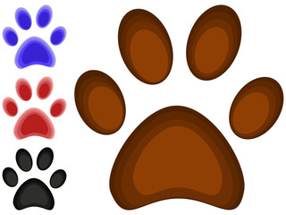Colorful cartoon cat paw footprint icon set poster.