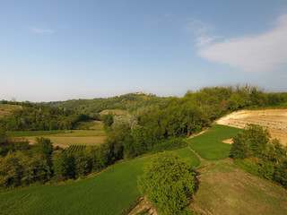 Aerial view of a rural italian landscape