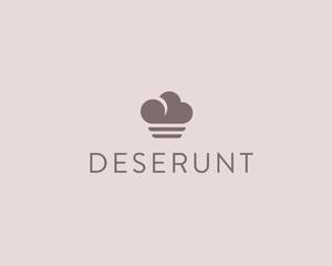 Abstract cloud food vector logotype. Creative chef ice cream logo design.