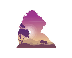 Silhouette of lion on the hill beauty landscape