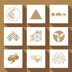 Japanese icons and logos. Gold elements such as bamboo, geometric, leaves, cherry blossom.